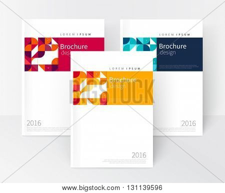 Vector set Red, Yellow, Blue Business brochure cover template. cover design annual report,  corporate booklet, leaflet, poster. Geometric Abstract background stripe and squares. stock-vector EPS 10