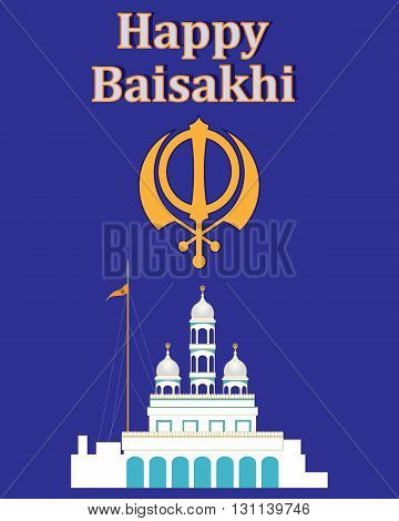 an illustration of a greeting card celebrating the sikh festival of baisakhi with a white gurdwara and a chakra symbol on a purple background