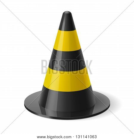 Black and yellow traffic cone. Safety sign used to prevent accidents during road construction