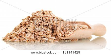 Mountain oatmeal and a wooden scoop isolated on white background.