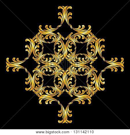 Gold pattern in floral style over black