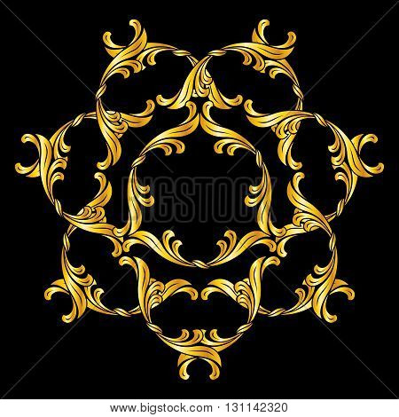 Abstract flower pattern in golden shades on black background