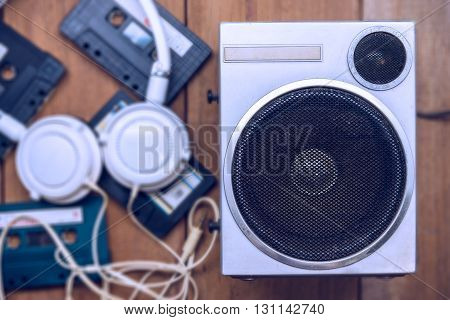 Old Metal Case Speaker With Tape And Headphone