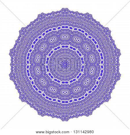 Circle Lace Ornament, Round Ornamental Geometric Doily Pattern, Christmas Snowflake Decoration