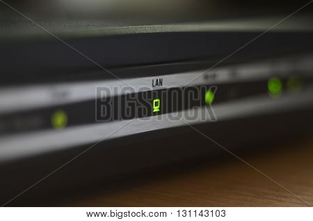 Macro of internet modem, abstract technology background