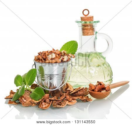 A metal bucket, spoon with shelled walnuts, oil bottle and shell isolated on white background.