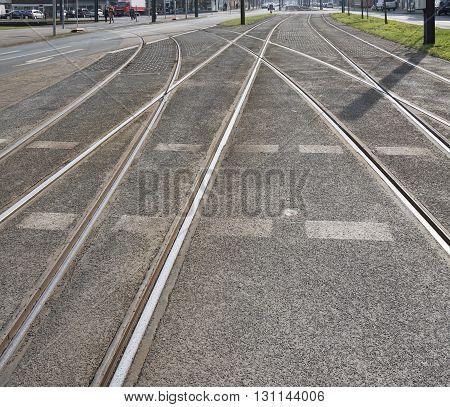 streetcar or tram tracks in a German city