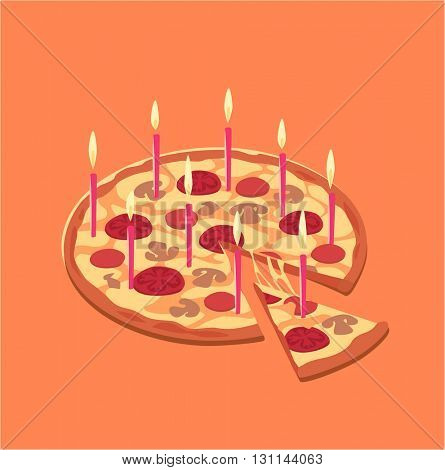 Pizza birthday cake. Concept vector illustration.