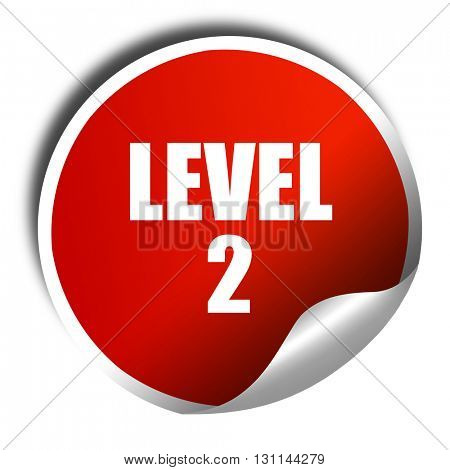 level 2, 3D rendering, red sticker with white text