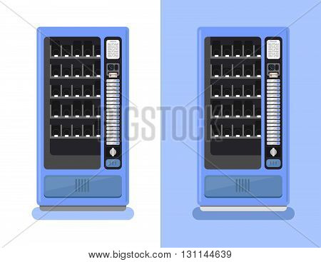 Vending Machine Vector Set. Sell Snacks And Soda Drinks Vending Machines. Vending Machine With Copro
