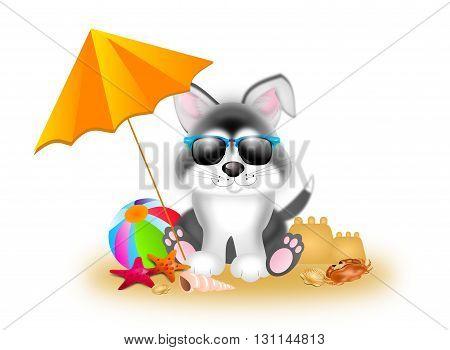 Cute illustration of siberian husky with summer decoration
