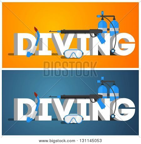 Diving Equipment. Diving Mask. Diving Snorkel. Diving Oxygen Tanks And Diving Wetsuit. Diving Vector