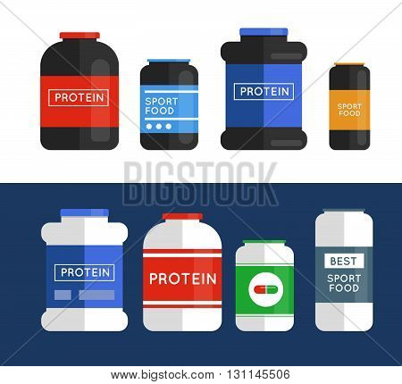 Bodybuilding sport food. Sports nutrition bodybuilding proteine power drink. Fitness nutrition. Food supplements for muscle growth.