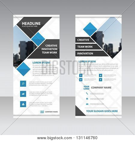 Blue and black Square Business Roll Up Banner flat design template Abstract Geometric banner Vector illustration set