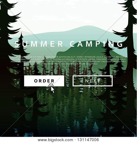 Summer nature landscape on the background of mountains forests and rivers. Camping time nature background.