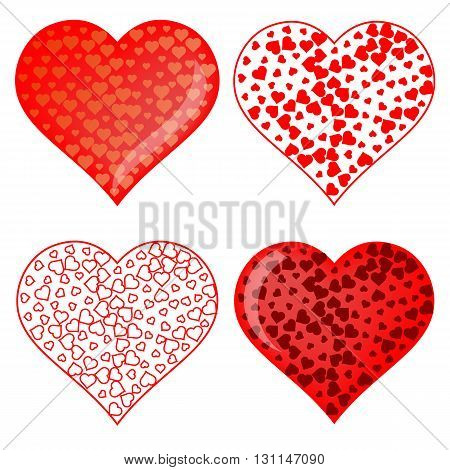 Set of Red Heart Symbols Isolated on White Background