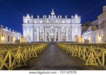 Italy, Rome, Piazza San Pietro - The front of Saint Peter's Basilica  in the night