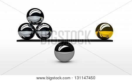 Balancing business quality versus quantity balance conceptual graphic for business and marketing concept 3D illustration.