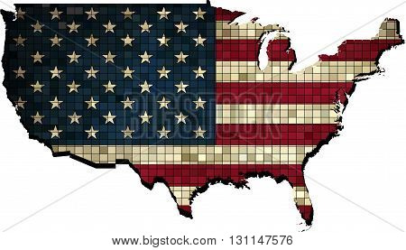 USA map with flag inside - Illustration,  Map of USA,   Abstract Mosaic flag of USA,  Grunge mosaic vector