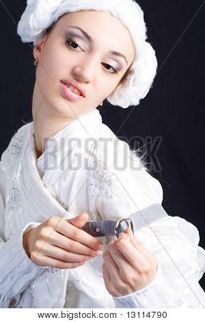 Retrato de un modelo de estilo profesional. Tema: arte, antigüedad, teatro, ballet, rendimiento.  Tiro