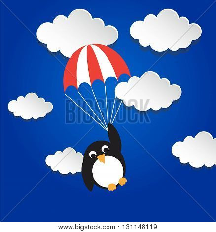 Penguin flying on parashout. Vector illustration text can be added