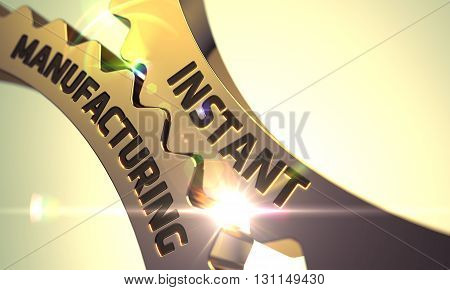 Golden Metallic Cogwheels with Instant Manufacturing Concept. Instant Manufacturing on Mechanism of Golden Metallic Cog Gears with Lens Flare. Instant Manufacturing Golden Cog Gears. 3D.