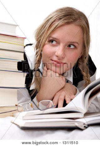 Schoolgirl Or Student Reading