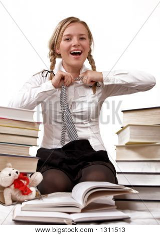 Schoolgirl Or Student Taking Off Tie