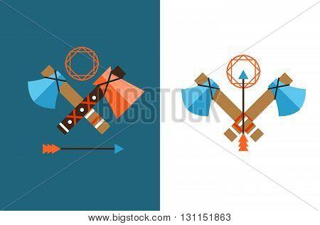 Tomahawk Vector Icon. American Tomahawk Vector Logo. Tomahawk Sign Set. Traditional Tomahawk. Indian