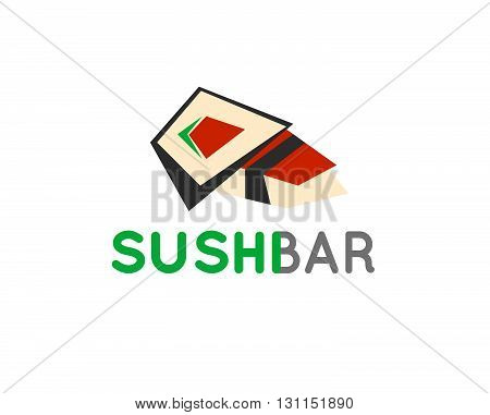 Sushi cafe or sushi bar vector logo. Sushi with fresh tuna sign. Salmon sushi vector icon. Sushi bar menu. Traditional japan sushi.
