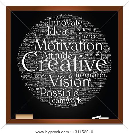 Concept or conceptual abstract creative business word cloud white chalk text on black blackboard