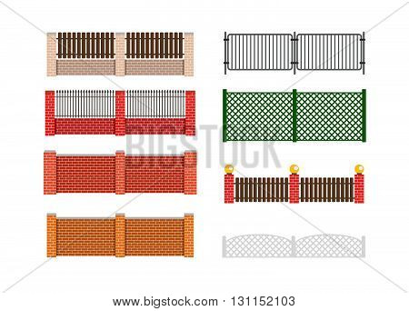 Fence Vector Illustration. Brick Fence And Wood Fence. Fence Around The House Vector Design. Securit