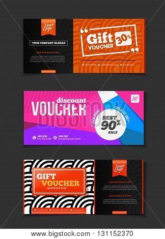 Gift Voucher Vector Set. Sale Voucher Vector Illustration. Store Voucher With Text. Shop Voucher Pro