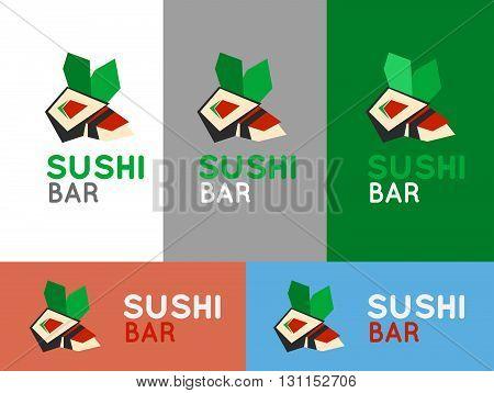 Sushi Cafe Or Sushi Bar Vector Logo. Sushi With Fresh Tuna Sign. Salmon Sushi Vector Icon. Sushi Bar