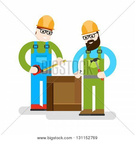 Two Workers On White Background. Сonstruction Workers With Repair Tools. Building Specialists Vector