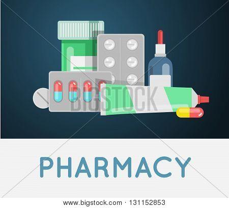 Pills Against Diseases Vector Set. Pills In Your Medicine Chest. Pills Bottles Vector Illustration.