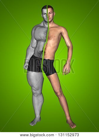 3D illustration of a concept or conceptual strong young male man bodybuilder vs underweight thin on green background