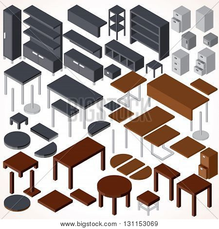 Isometric Office Furniture. Vector Collection. Set of Various Cabinets, Shelves, Tables, BookCases and Desks etc.
