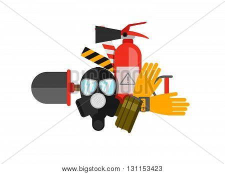 Safety Equipment Vector Set. Fire Protection And Fire. A Gas Mask And A Fire Extinguisher. Set Firef