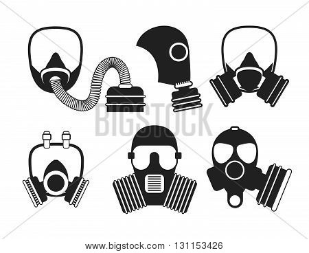 Gas Mask Vector Set. Gas Mask For Firefighters And Military. Respirator Mask. Gasmask With Filter. D