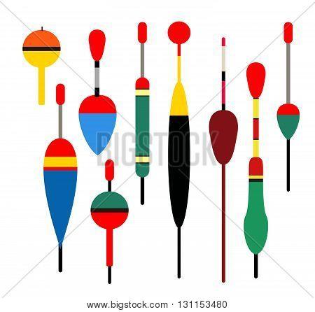 Fishing Bobber Vector Set. Fishing Tools Illustration. Fishing Bobber Vector Set. Fishing Symbols. F