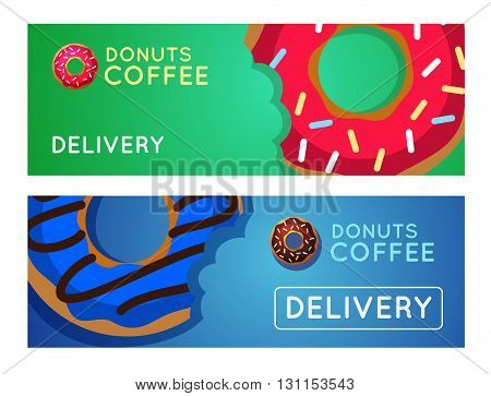 Sweet Donut With Coffee. Donut On Table. Dinner On A Donut At The Coffee Shop. Colored Donuts With E