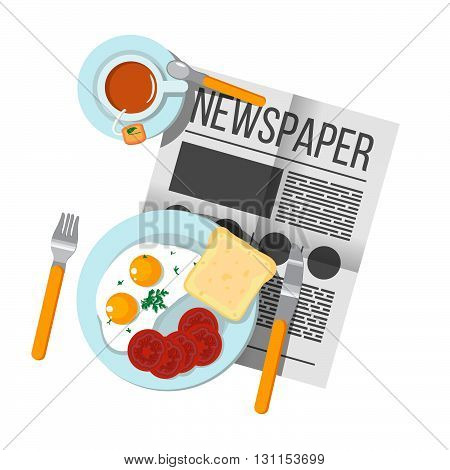 English Breakfast Scrambled Eggs With Bacon And Tea Top View. Newspaper On Table With Food Illustrat
