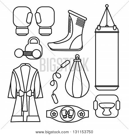 Boxing Vector Design Elements. Fighting And Boxing Equipment. Boxing Gloves Vector Illustration. Box