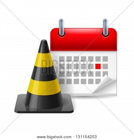 Traffic pylon and calendar with marked day on white background