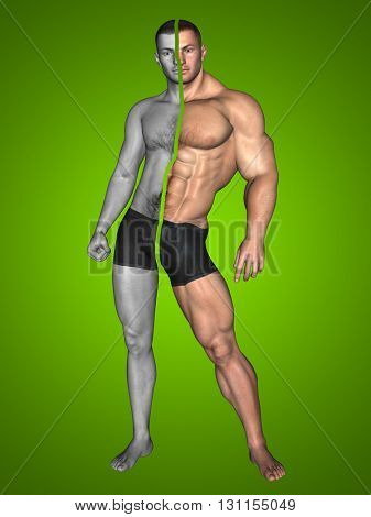 3D illustration of a concept or conceptual strong young male man bodybuilder before and after on green background