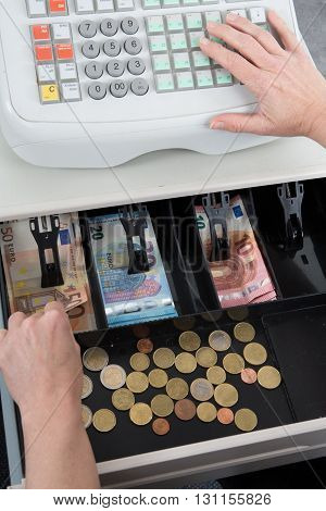 Cash Register And Euro Money , In The Till, Bank Notes And Change