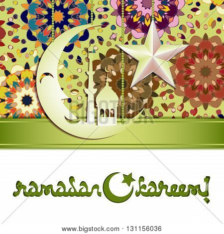 Card with silver moon and star on colorful mandala pattern for greeting with Islamic holidays Ramadan Eid al-Fitr Eid al-Adha. Vector illustration