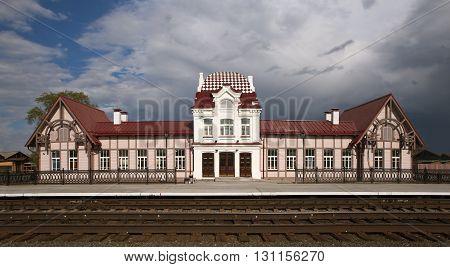 Train station Verkhoturye station. The station was built in 1903. The architect is unknown. Available: Str. Vokzalnaya, 1, pos. Privokzalny, Verkhoturye, Sverdlovsk region., Russia