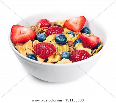 Breakfast bowl with cereals and fresh fruits, isolated on white.